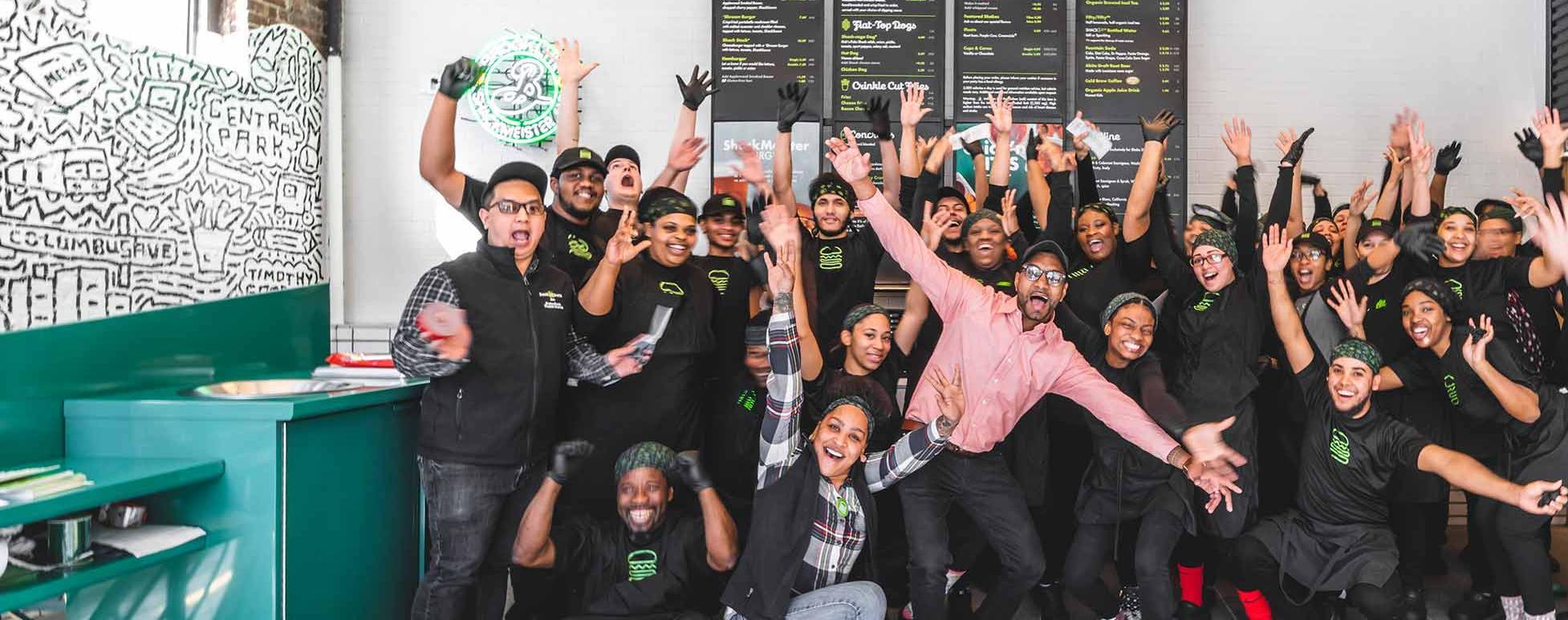 Shake Shack employees celebrating in store